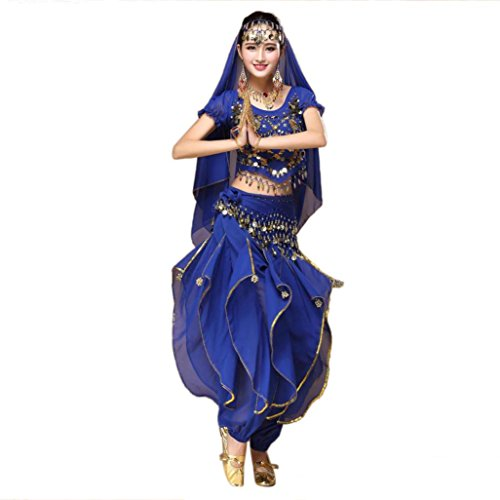 KESEE Women Belly Dance Outfit Costume India Dance Clothes Top+Skirt (Blue)