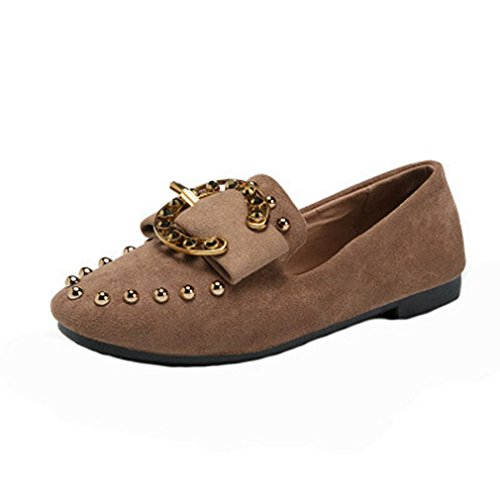 Giy Donna Classico Penny Mocassini Fibbia Punta Quadrata Slip-on Rivetti Abito Mocassino Casual Oxford Scarpe Marrone