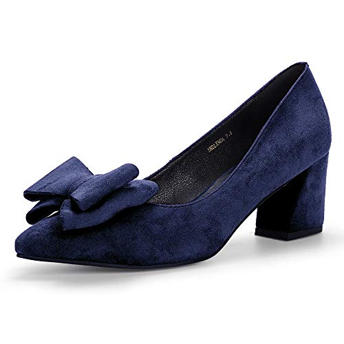Toe Bowknot Low Cut - IDIFU Women's IN2 Linda Low Chunky Heels Pumps Pointed Toe Slip on Bow Dress Party Shoes (Blue Suede, 10 M US)