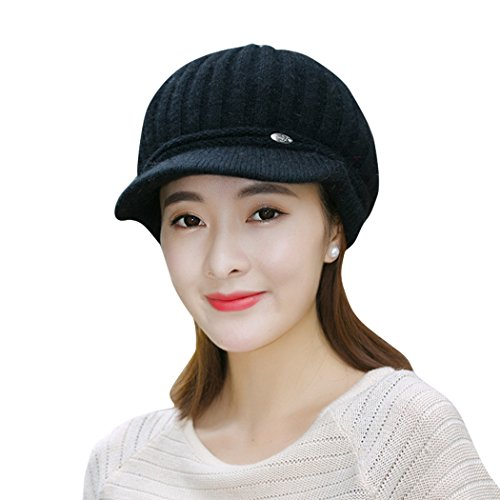Crochet Stretch Cap (Nercap Knit Winter Hats For Women Girls Stretch Warm Crochet Snow Ski Skull Cap With Visor Brim (Black))