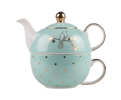 Bombay Duck Miss Darcy Tea for One Set Mug Cup Teapot in Mint and Gold