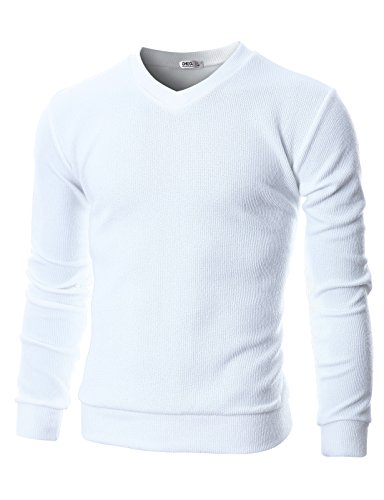 Ohoo+Mens+Slim+Fit+Ribbed+Fabric+Light+Weight+V-Neck+Pullover+Sweater%2FDCP045-WHITE-M