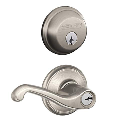 Schlage FB50N V FLA 619 B60 Single Cylinder Deadbolt and F51 Keyed Entry Flair Lever Keyed Alike, Satin Nickel Finish