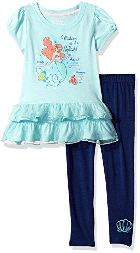 Disney Toddler Girls' Ariel the Little Mermaid 2-Piece Legging Set, Blue/Navy, 4T (Princess Ariel Clothes)