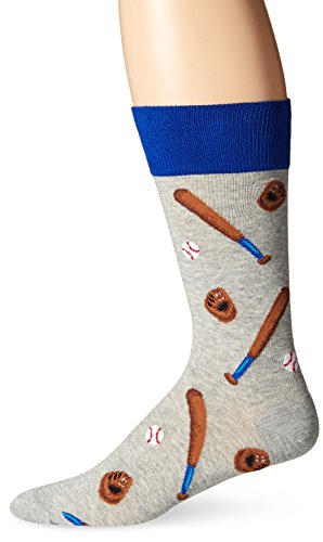 Hot Sox Men's Conversational Slack Crew Socks, Baseball (Sweatshirt Grey Heather), Shoe Size: 6-12