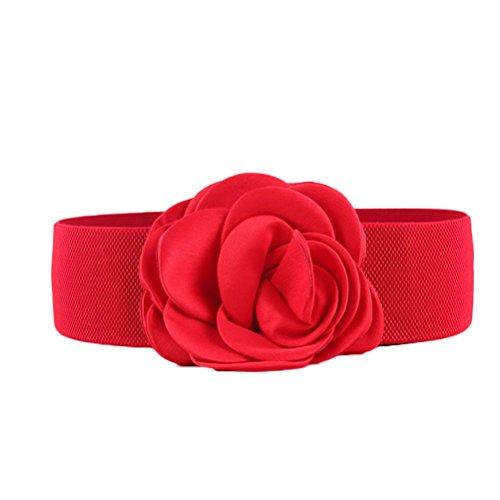 Nanxson Women Girls Decor Flower Waist Belt Wide Elastic Band PDW0075 red -