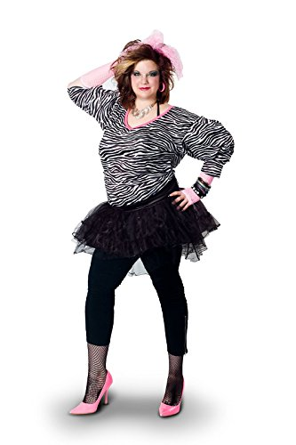 Pop Star Diva Costume (Sunnywood Women's Plus-Size Lava Diva Hip Hop 80's Costume, Multi, X-Large)