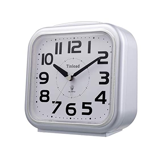 "5.5"" Silent Analog Alarm Clock Non Ticking, Gentle Wake, Beep Sounds, Increasing Volume, Battery Operated Snooze and Light Functions, Easy Set, Silver (Best for Elder) - Super Large Size-- Size: 5.5"" x 5.5"" x 2.3"". Alarm clock stands up at an angle, high quality plastic, square face with white dial, black Arabic numerals, good decoration for tabletop, desk & shelf, bedrooms. Also large size screen and clear bold digits to display time, perfect alarm clock for elderly. Completely Silent-- Super quiet concise design alarm clock without annoying tick tock sound, ideal for those who need complete silence to fall asleep. Snooze and Light Function-- Snooze and light button locates on easy-to-find top place. Hold button down for 5 minutes snooze or to light up the clock face on demand to see the dial momentarily in the darkness. - clocks, bedroom-decor, bedroom - 41 6wwT%2BFoL. SS570  -"