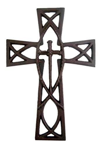 Cast Iron Ichthus Jesus Fish Wall Cross with Overlay Nails Design, 11 Inch (Jesus Wall Christ Cross)