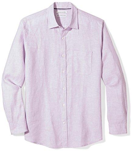 Amazon Essentials Men's Regular-Fit Long-Sleeve Linen Shirt, lavender, Large (And Lavender Linen)