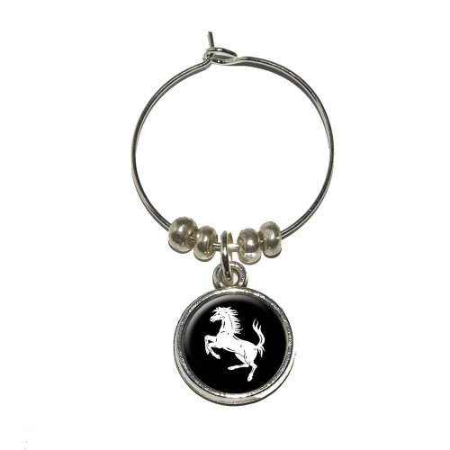 Horse Rearing Up on Black Wine Glass Charm Drink Marker