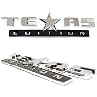 iJDMTOY (2 Chrome Finish 3D Texas Edition Emblem Badges for Chevrolet Silverado, GMC Sierra (Also Universal for Ford or Dodge Trucks)