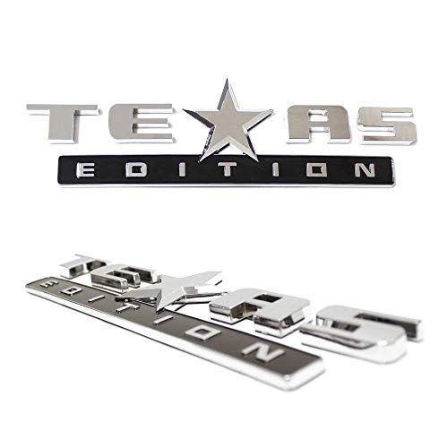 - iJDMTOY (2) Chrome Finish 3D Texas Edition Emblem Badges For Chevrolet Silverado, GMC Sierra (Also Universal For Ford or Dodge Trucks)
