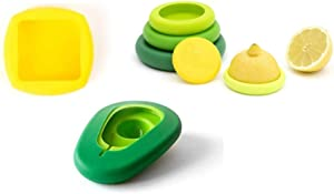 Food Huggers Kitchen Must-haves (8 Pieces)- Butter Hugger Keeps Butter Sealed and Fresh + Avocado Hugger (Set of 2) + Food Huggers Fresh Greens (Set of 5), Dishwasher Safe Silicone/ 100% BPA Free