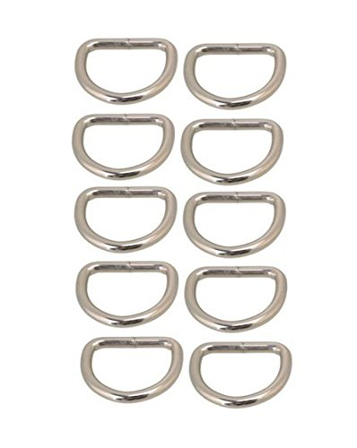 10 25 AKORD or for Bag Purse mm Metal D Rings Handles Silver dwwv1H