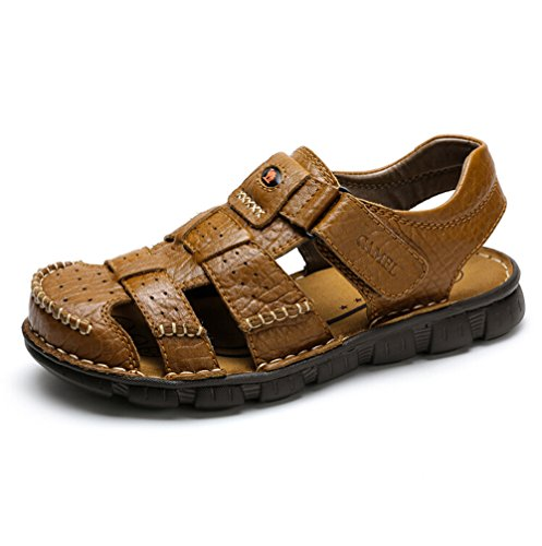 Camel Men's Fisherman Sandals Leather Breathable Close-Toe Sandal Non-Slip  Adjustable Summer Beach