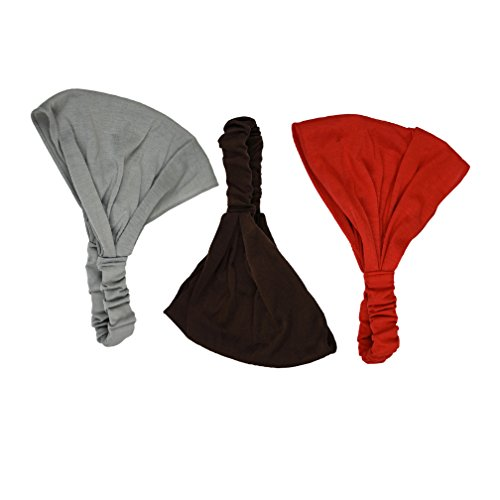 Brown Grey & Red Set of 3 Solid Stretchy 9 inch Partial Head Cover Hair Wrap Headwrap Landana Headscarves for sale