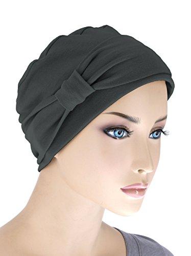 Comfort Cotton Sleep Cap & Headband Chemo Hat Beanie Turban for Cancer Black