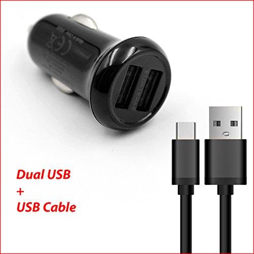For Visual Land Prestige Elite 8QS / 9Q / 10Q / A10QL Tablet Life-Tech(TM) Dual Ports USB Car Charger Adapter + USB Charging/Data Cable (9q Lands Visual)