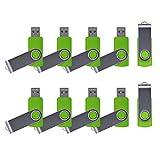 Enfain 10 Pack 32GB USB Memory Stick Green