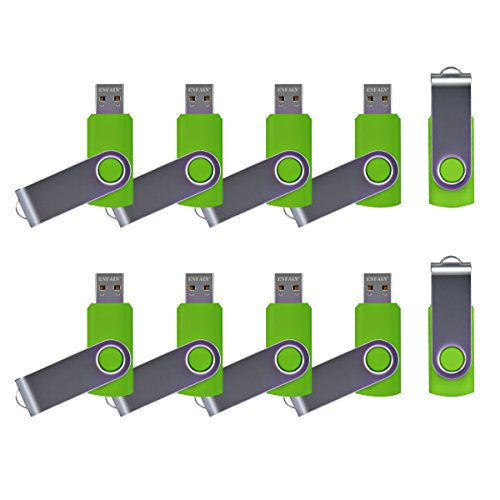10 X Enfain 16GB USB Flash Drive 2.0 Memory Zip Pen Disk Green, Ideal for Tradeshows, Branded Giveaways, and Other Event-related Marketing Strategies (2.0 Custom Usb)