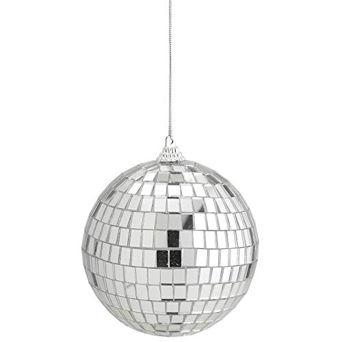 Kicko 4 Inch Mirror Disco Ball - Silver Hanging Ball - Perfect for Home Decorations, Stage Props, Game Accessories, School Festivals, Party Favor and Supplies ()