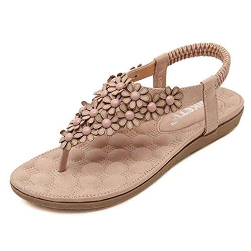 Ouneed® Flip Flops Damen Erwachsene Zehentrenner , Damen mode süße wulstige Wohnungen Cap Zeheebenen Bohemian Herringbone Sandelholz Strand Schuhe (38, Rosa)