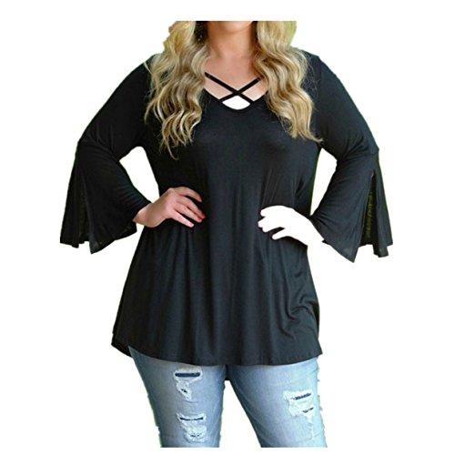 Challyhope Solid Shirts, Women Plus Size Cross Front Long Flare Sleeve Casual Blouse