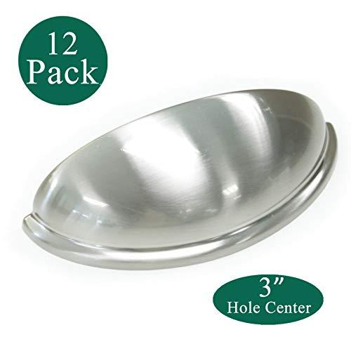 - Modern Cabinet Pulls 3Inch,12 Pack Satin Nickel Kitchen Cabinet Handles,Bin Cup Drawer Handle Pull,Euro Style,Bin Cup Drawer Pulls,Satin Brushed Cabinet Pulls