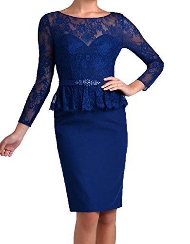 Blau Brautmutterkleider Kurz Langarm Spitze Damen Knielang Charmant Abendkleider Royal Promkleider Etuikleider xqg6nRvH