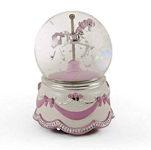 MusicBoxAttic Adorable Animated Carousel Horse Water Globe with Pink Ribbon and Roses Base - Three Coins in The Fountain