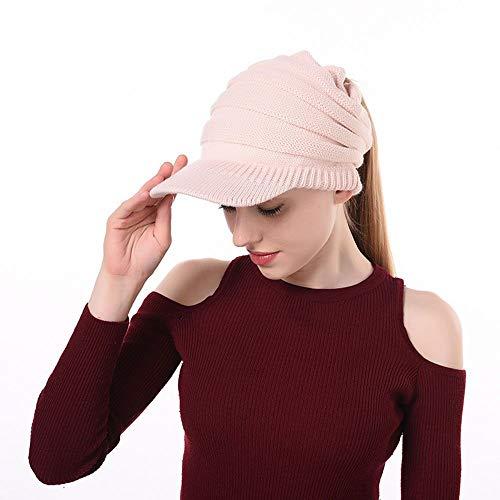 145f709e93b CCOBOB Weaving Ponytail Hat Warm Knit Messy High Bun Messy Visor Beanie Cap