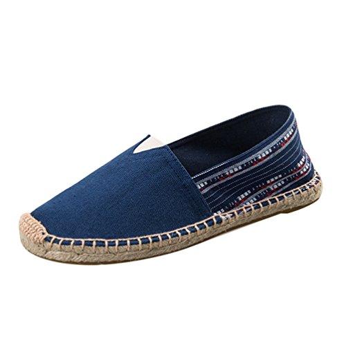 YOUJIA Unisex Espadrilles Vintage Ethnic Style Flat Slip on Pumps Canvas Summer Shoes #2 Dark Blue