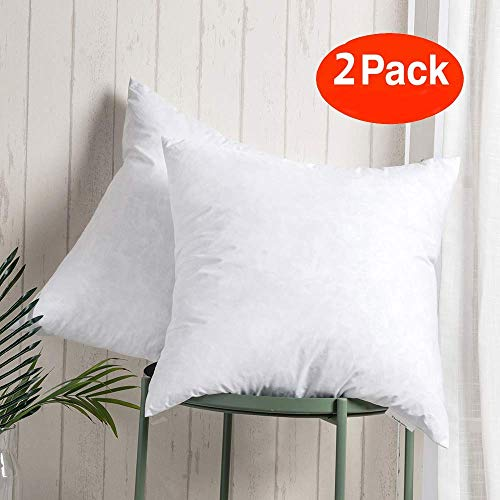 100% Cotton Throw Pillow Insert - Sham Stuffer Filled with Down and Feather for Firm Sleepers - Square Decorative Cushion Used for Sofa and Bed, Set of 2, White, 20