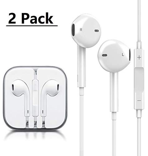 PUJIN Earphones/Earbuds/Headphones Stereo Mic Remote Control Compatible with Apple iPhone 6s/6 plus/6/5s/se/5c/iPad iPod (White)(2Pack)
