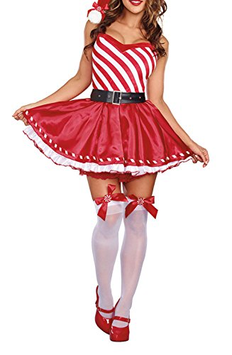 Santas Sexy Snowflake Womens Christmas Costumes (Surfywin Women's Christmas Santa Claus Plays Holiday Costume Cosplay Fashion)