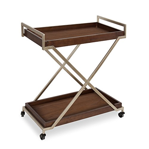 Kate and Laurel Parmer Kitchen Trolley, Utility Dining Bar Cart, Rolling Storage with Bottom Shelf, Walnut Brown Finish, Champagne Gold Frame