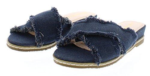 Dress Trim Cross Criss (Gold Toe Women's Maura Frayed Denim Criss Cross Strap Mini Wedge Slide Sandal, Casual Fashion Shoes Denim 7 US)