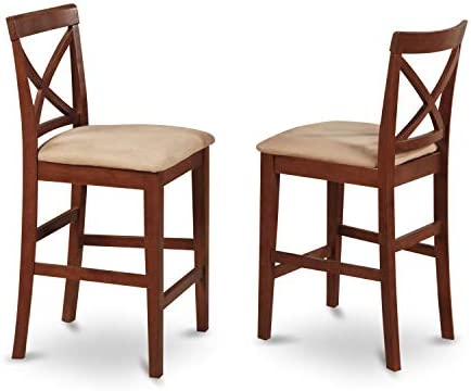 East West Furniture PBS-BRN-C X-Back stool counter height dining chairs-Microfiber Upholstery Seat and Brown Solid wood Structure Counter height dining chairs set of 2