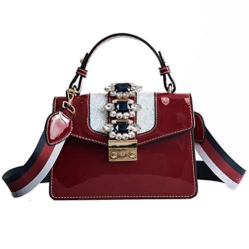 74724b8c3e3 Chibi-store Fashionable Women's Bag Brick-set Messenger Bag Patent Leather  Single,red