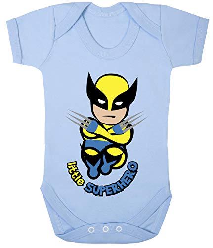 Colour Fashion Baby Wolvie Little Superhero Bodysuits Onesie Hypoallergenic 100% Cotton (Sky Blue, 3-6 Months) -