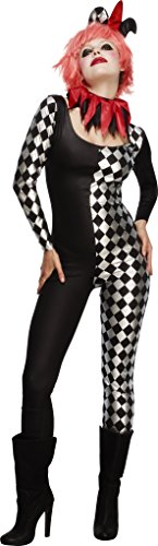 Smiffy's Women's Fever Harlequin Jester Costume, Catsuit, Collar and Hat on Headband, Halloween, Fever, Size 10-12, 45398 (Harlequin Halloween Costumes Uk)