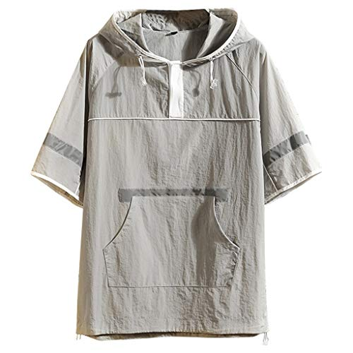 Hooded Shirts for Men Short Sleeve Summer Fashion Cap with Pocket Comfortable Blouse Top Gray