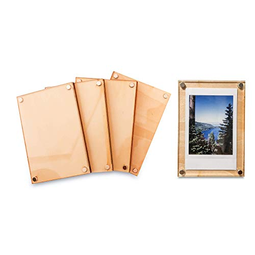 Hill & Sea Wood and Acrylic Magnetic Frame - Instax Mini, Polaroid, Wallet Size - 5 Pack