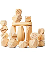 Panda Brothers Wooden Balancing Stones - Natural Pine Wood Rock Set, Montessori Educational Preschool Learning Sensory Toy, 20 Large Size Wooden Building Blocks Set of Stacking Stones for Kids