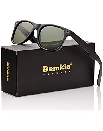 new arrival 70c6d f461e Bemkia Men Sunglasses Polarized Women Retro Classic UV 400 Protection 54 MM  (17 Glossy Frame