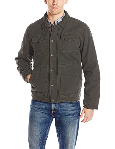Bass GH Men's Laydown Collar Two Pocket Depot Jacket with Woodsman Plaid Lining, Olive, XXL