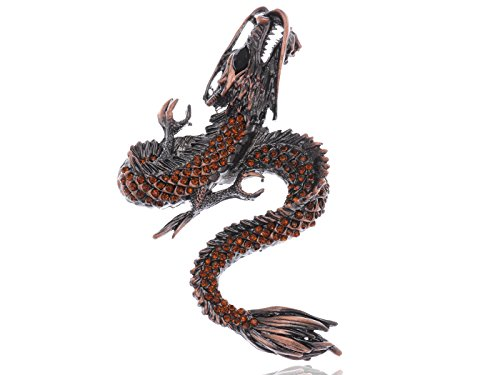 Alilang Womens Gunmetal Tone Topaz Colored Rhinestones Antique Dragon Brooch Pin (Ladies Top Gun Costume)