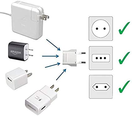 Tablets eReaders United States to Ukraine Travel Power Adapter to Connect North American Electrical Plugs to Ukrainian outlets For Cell Phones 2-Pack, White and More