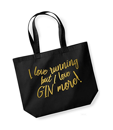 I But Love Gin Tote I Cotton Running Love Unisex Canvas Gold More Black Bag Slogan qRzp8FY8